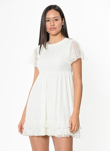 Motel Rocks Kısa Kollu Mini Kloş Elbise Beyaz